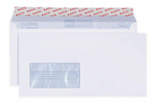 Briefumschläge Elco Proclima DIN Lang+ haftklebend, Weiß mit Fenster